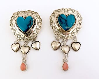 Vintage Southwest Navajo Native American Sterling Silver Turquoise & Coral Heart Dangle Earrings!  Must see!