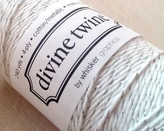 Glitter twine - full spool - 240 yards - Divine Twine silver metallic twine - silver and white bakers twine