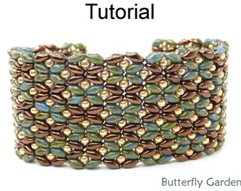 SuperDuo Beading Tutorial Pattern - Beaded Flower Bracelet - Simple Bead Patterns - Butterfly Garden #18058