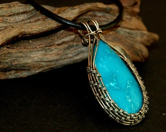 Turquoise Pendant, .925 Sterling Silver Necklace, Teardrop Shape Stone, Wire Weave Silver Pendant, Wire Wrapped Arizona Turquoise Cabochon
