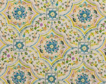 70cm Blue and yellow floral fabric print coupon / 55cm