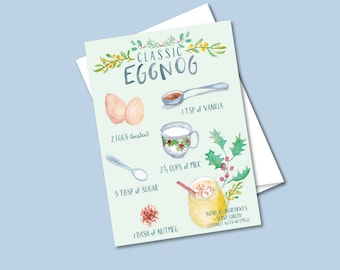 Holiday Greeting Card- Illustrated Eggnog Recipe