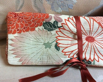 Vintage handmade Asian print stockings storage pouch, Oriental print coral tones roll tie lingerie bag, stockings lingerie storage pouch