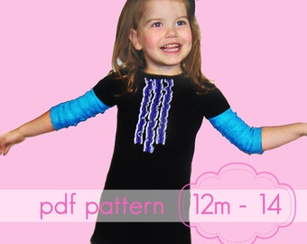 Cap-Sleeve A-Line Dress - INSTANT download - pdf sewing pattern - 12m - 14