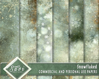 CU Commercial Use Background Papers set of 6 for Digital Scrapbooking or Craft projects SNOWFLAKED Papers, Designer Stock Papers