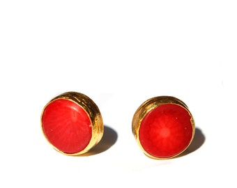 Coin Red Coral Stud Earrings