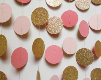 Blush Pink, Coral and Gold Glitter Circle Garland, 8' Paper Dot Garland, Wedding Reception Decor, Bridal Shower Decoration