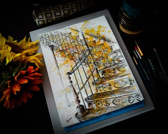Old Staircase Watercolor and Black Ink Painting