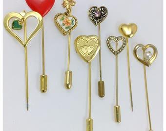 Lot of 8 Vintage Heart Hat or Stick Pins, Old Hat Pins, Heart Stick pins, Locket Heart Hat Pin