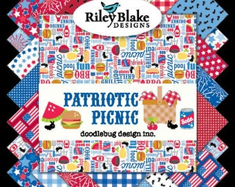 Patriotic Picnic Cham Pack- 5 inch stacker- Doodle Bug Designs