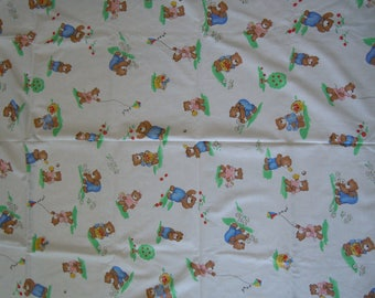 """Vintage bear fabric 4 yds.x 44""""  family of bears at play   Princess Fabric 1992  cotton off the bolt condition"""