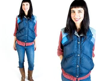 Vintage Obermeyer Multi Colored Blue Goose Down Filled Puffer Vest // Fits Like Size M Medium or L Large