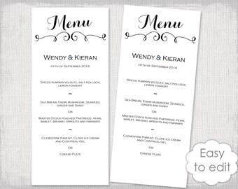 printable wedding menu template modern calligraphy script