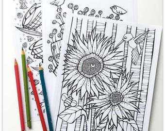 Printable 3 page Colouring Booklet: Quirky Botanicals 2