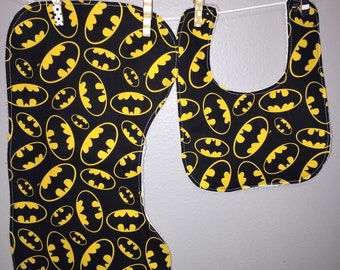 2 pc Batman Baby Gift Set Bib Burp Cloth