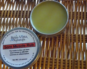 Sore Muscle Rub - Herbal Remedy, Goldenrod, Arnica & St. Johns Wort, Muscle Rub, Natural Salve, Herbal Salve