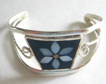 Child's Inlay MOP Flower Cuff Bracelet Signed Mexico Silver 1980's Vintage