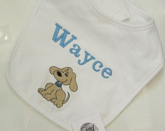 Personalized Bib with Dog or Puppy Perfect Shower Gift