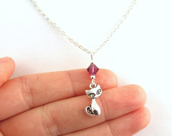 Cat Necklace- choose a birthstone, Cat Jewelry, Siamese Cat Necklace, Siamese Cat Jewelry, Silver Cat Necklace, Silver Cat Jewelry, Cat