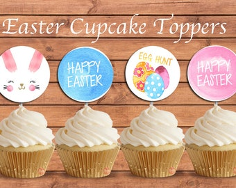 EASTER Cupcake Topper. Happy Easter. Egg Hunt. Party Supplies. DIGITAL FILE