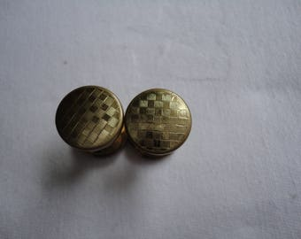 Vintage Gents/Mens Gold Plated Retractable Engine Turned Chequer Board Design Cufflinks - Patent Number 449790 - Art Deco - 1930's