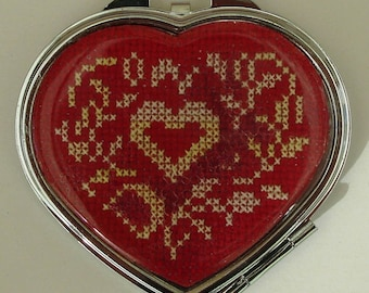 Red heart pocket or purse mirror