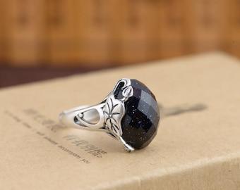JoyGemstones, Sparking Blue Aventurine Sterling Silver ring