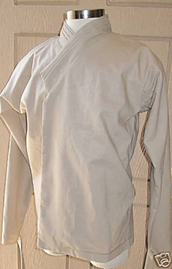 Star Wars Jedi under tunic beige costume shirt with tucks on the collar and ties around the wrist