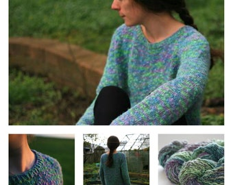 COTTON LINEN SWEATER ~  Yarn Kit for Summer Sweater 'Top of the Morning' designed by LBhandknits