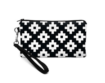 Women's iPhone Wallet, Southwestern Phone Wristlet, iPhone 8 Plus Wristlet, Padded iPhone Purse - black and white  mod geometric