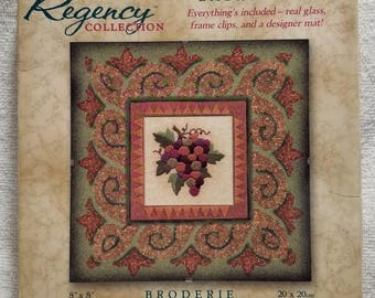Dimensions, The Regency Collection Embroidery Kit, 72803, Grape Cluster Mosaic, designer mat, glass, frame clips, 8x8