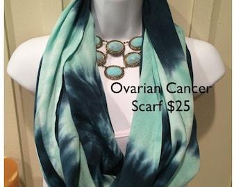Tye dye scarf, Ovarian cancer awareness scarf, hand dyed rayon infinity scarf, tie dyed rayon scarf, teal ovarian cancer scarf