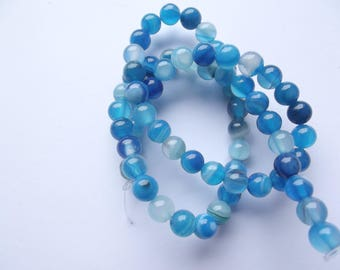 agate Blue 6 mm REIA 418 62 smooth round beads