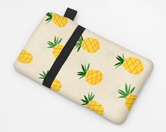 Women's Smartphone Sleeve, iPhone 8 Wallet, Samsung Galaxy S8 Case, Padded iPhone Cover, Lenovo Phone Case -yellow pineapples in cream