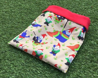 Gnomes cuddle sack for small pets. Polycotton and a range of fleece colours.