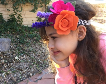 Spring blossom headband, baby, children or adult size
