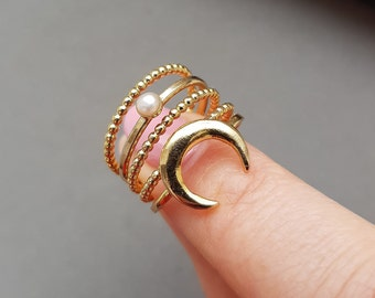 Moon Stacking Rings - Gold Stackable Rings, Ring Set, Minimalist Ring, Thin Ring, Textured Ring, Gold Ring, Stacking Rings, Gifts for her