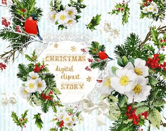 Christmas Clipart Xmas Graphics Vintage Illustrations Festive Wreath Scrapbook Planner DIY Christmas Rose Holly Berry Pine Twigs Cute Robin