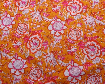Yellow-White and Pink Floral Design Block Print Cotton Fabric, Cotton Hand Printed Fabric, 100% Cotton