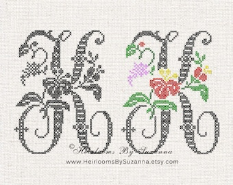 Large Antique Floral Monogram - Machine Cross Stitch Embroidery - Tropical Flower Initial - Cross Stitch Font - Floral Font K - HBS-61-K