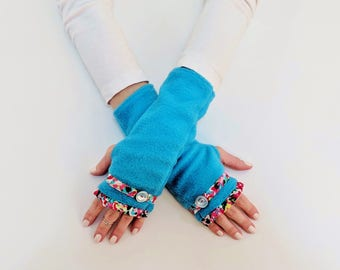 Unique Fingerless Gloves Women, Coworker Gift for Her, Turquoise Fingerless Mittens, Wrist Warmers, Hand Warmers, Half Finger Gloves