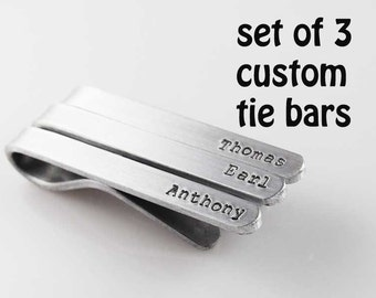 tie clip custom tie bar set of 3 men accessories hand stamped groomsmen wedding gift silver aluminum tie clips