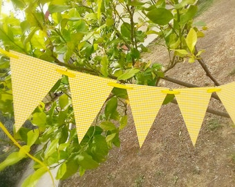 Yellow paper flags birthday decoration// nursery decor//yellow pennants//Birthday party decoration//summer decor