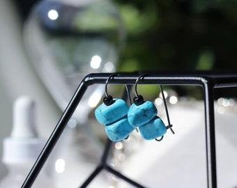 Blue Howlite Stone Bead Drop Earrings