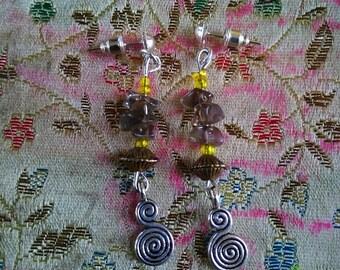 Jewellery - Earrings - Smokey Quartz Spiral Earrings