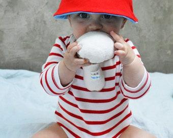 Bonjour! Upcycled Sun Hat / Bucket Hat, Reversible Sun Hat, Baby Sun Hat