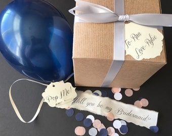 Pearl Navy- Will you be my bridesmaid? Pop the balloon to reveal your message