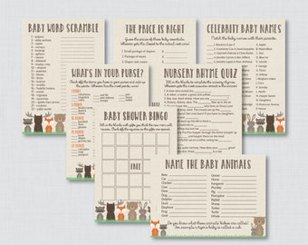 Woodland Baby Shower Games Package - Seven Printable Games Bingo, Price is Right, etc - Instant Download - Woodland Baby Shower Games - 0010
