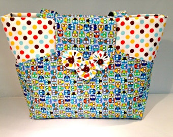 Owls and Polka Dots Bag or Purse with Pockets