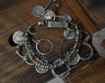 Labradorite bracelet Oxidized Raw sterling silver Rustic